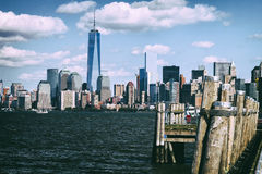 The New York City Downtown w the Freedom tower Royalty Free Stock Image
