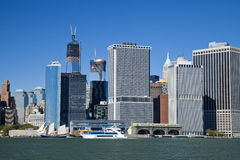 The New York City Downtown w the Freedom tower and tower 4 Royalty Free Stock Images