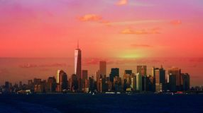 New York City Dusk Or Dawn Royalty Free Stock Images