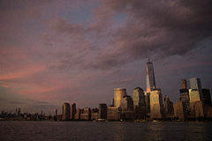 New York City at dusk under dark, purple sky Royalty Free Stock Photo