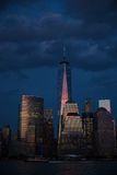 New York City at dusk under dark, purple sky Royalty Free Stock Photography