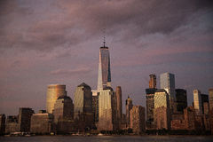 New York City at dusk under dark, purple sky Stock Photography