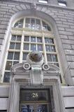 New York City, el 3 de agosto: Ornamentos del edificio histórico de Manhattan en Nueva York Foto de archivo