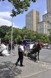 New York City, el 1 de julio: Carro del caballo en el Central Park en Midtown Manhattan de New York City en Estados Unidos Fotografía de archivo libre de regalías