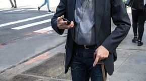 New york city elderly man walking stock photo