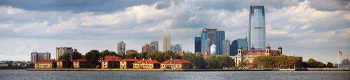 New York City Ellis Island Skyline Panorama. With New Jersey view Royalty Free Stock Image