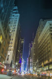 New York City Empty Street Tilt Shift. New york, manhattan, 37 th street, empty in the night, with blue lights in the distance and a tilt shift blur effect on Royalty Free Stock Image