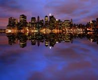 New York City en la noche Fotografía de archivo libre de regalías