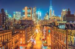 New York City en la noche, Chinatown Fotos de archivo