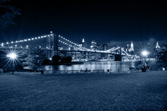 New York City en la noche Visión desde el parque de Brooklyn fotografía de archivo