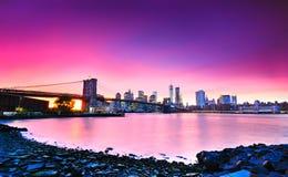 New York City en la oscuridad Foto de archivo libre de regalías