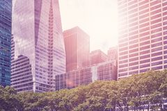 New York City en la puesta del sol, los E.E.U.U. Imagenes de archivo