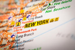 New York City en un mapa de camino imágenes de archivo libres de regalías