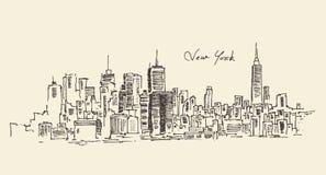 New York city engraving  illustration. Hand drawn Stock Photo