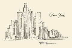 New York city engraving  illustration. Hand drawn Stock Photos