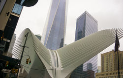 New York City, Estados Unidos da América - maio 01,2016: O Oculus no cubo do transporte do World Trade Center Imagens de Stock