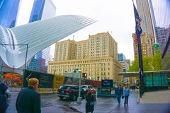 New York City, Estados Unidos da América - maio 01,2016: O Oculus no cubo do transporte do World Trade Center Fotos de Stock