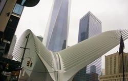 New York City, Estados Unidos da América - maio 01,2016: O Oculus no cubo do transporte do World Trade Center Imagens de Stock