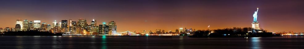 New York City et statue de la liberté Photographie stock