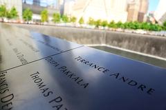 New York City, EUA - 14 de agosto de 2014: 9/11 de memorial no ponto zero, Manhattan, comemorando o ataque terrorista do 11 de se Imagem de Stock