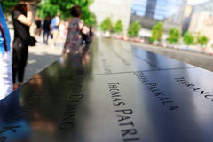 New York City, EUA - 14 de agosto de 2014: 9/11 de memorial no ponto zero, Manhattan, comemorando o ataque terrorista do 11 de se Fotografia de Stock