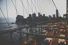 New York City för Brooklyn bro stads- storstads- begrepp arkivfoton