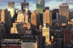 New York City för soluppsättningarna Arkivbild