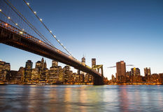 New York City. Famous landmark of Brooklyn Bridge Stock Photo