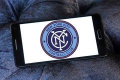 New York City FC Soccer Club logo. Logo of New York City FC Soccer Club on samsung mobile. New York City Football Club is a professional soccer club Royalty Free Stock Photos