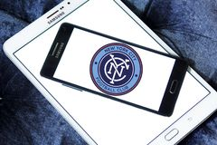 New York City FC Soccer Club logo. Logo of New York City FC Soccer Club on samsung mobile. New York City Football Club is a professional soccer club Stock Photos