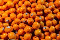 New York City, New York, am 14. Februar 2018: Stapel Tangerinen Lizenzfreie Stockfotos