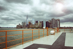 New York City from ferry boat Stock Images