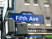 New York City Fifth Avenue. Street sign on New York's famous 5th Avenue Royalty Free Stock Image