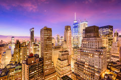 New York City Financial District. Cityscape at dusk Royalty Free Stock Photo