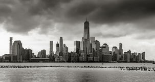 New York City Financial District skyline in Black & White. Time lapse of Lower Manhattan stock video footage