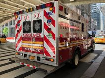 New York City Fire department New York ambulance. New York City NYFD ambulance rear view sitting parked outside Grand Central Station in New York City stock photography