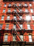 New York city fire escape ladder Royalty Free Stock Image