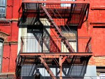 New York city fire escape ladder stock photos