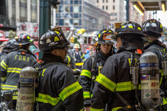 New York City Firemen and Truck Stock Photography
