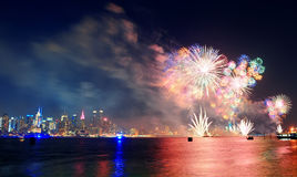 New York City fireworks Royalty Free Stock Photos