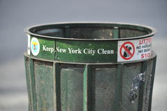 New York City Garbage Can. Or Bin with inscription Keep New York City Clean Stock Photos