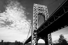 New York City George Washington. A black and white view of the New York City George Washington Bridge as seen from below Stock Photography