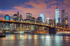 New York City - great illumination and colorful clouds Royalty Free Stock Images