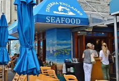 New York City Greek Restaurant Astoria Queens Eating Food Dining. Caf royalty free stock photos