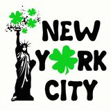 New York City Green Shamrocks. Nice design of the statue of liberty holding the torch with shamrocks, featuring New York City replacing the letter O with a Royalty Free Stock Image