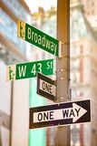 New York City green street signs midtown stock image