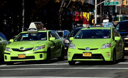 New York City: Green Taxis on Broadway Royalty Free Stock Photo