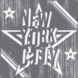 New York City grunge typography poster, t-shirt Printing design, vector Badge Applique Label Royalty Free Stock Images