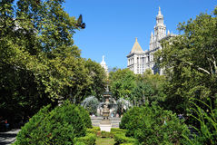 New York City Hall Park. The Municipal Building from City Hall Park in New York City Stock Photo