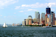 New York City Harbor view. A view of the New York City Harbor and skyline Stock Images